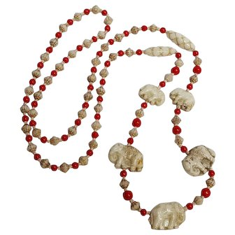 Max Neiger molded glass elephant bead necklace