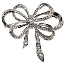KJL Kenneth Jay Lane Avon rhinestone bow  ribbon pin