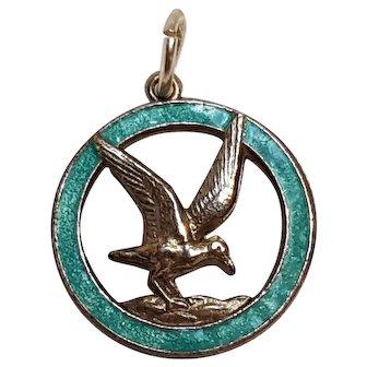 Sterling silver Thomas L Mott seagull charm blue enamel