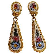 Italian mosaic drop earrings clip findings floral design
