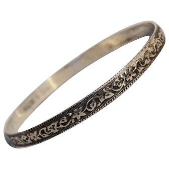Danecraft sterling silver bangle bracelet flower vine design