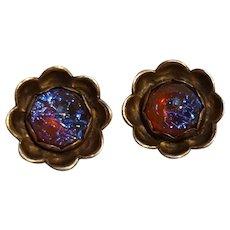 G.L. Davis sterling silver dragons breath jelly opal earrings