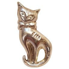 Taxco sterling silver puffy cat pin pendant.