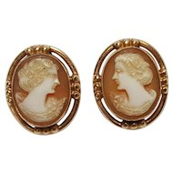 10K Gold carved shell cameo screw back earrings