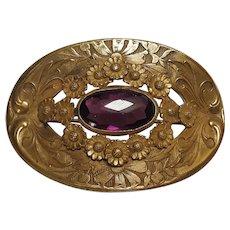 Antique brass sash pin amethyst glass stone flowers