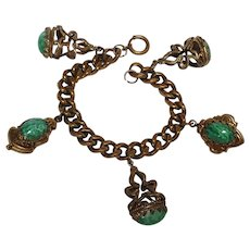 Peking glass charm bracelet  early spring ring clasp