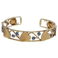 Krementz cuff bracelet stylized leaves blue rhinestone