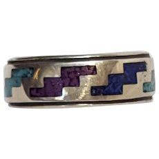 Carolyn Pollack sterling silver chip inlay band ring mens