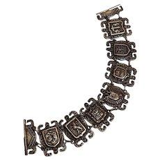 900 Coin Silver heraldic shield bracelet slide pin clasp