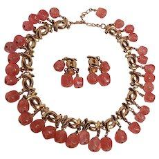 Napier pink glass gangling bead necklace earrings set