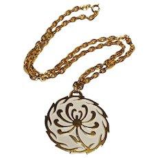 Trifari white enamel pendant necklace Mod flower