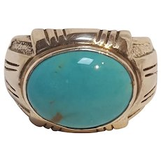 Carol Felley sterling silver turquoise ring.  size 12