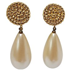 Monet large simulated pearl drop clip earrings