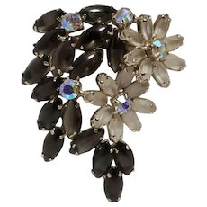 Rhinestone flower pin satin  glass petals ab rhinestone