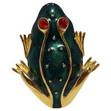 Trifari TM green enamel frog pin rhinestone eyes