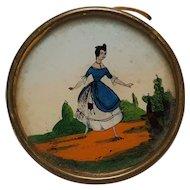 Antique French eglomise bon bon box reverse painted glass