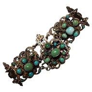 Antique Austro Hungarian silver turquoise bracelet openwork plaques