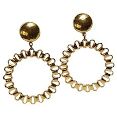 Monet Mod loop drop clip earrings gold tone