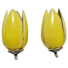Yellow enamel large rose bud clip earrings