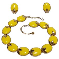 Trifari Trinidad necklace and clip earrings set bright yellow lucite