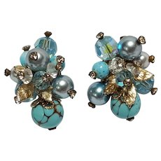 Vendome tension screw clip earrings blue glass and crystal