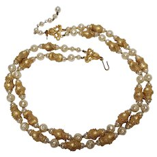 Trifari simulated pearl and metal bead necklace two strand