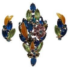 Juliana enamel flower bouquet pin clip earrings set