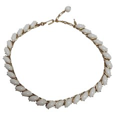 Trifari wedding white lucite navette cabochon choker necklace
