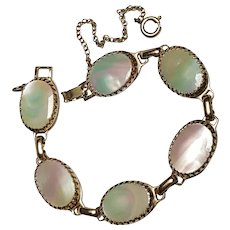 Whiting Davis bracelet oval mother of pearl inserts