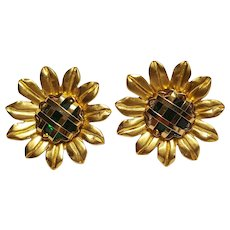 Monet sun flower  earrings caged stone center