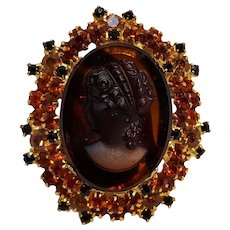 Juliana cameo pin glass tortoise shell orange rhinestone