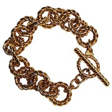 Monet bracelet chunky twisted rope links toggle clasp