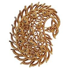 Trifari paisley pin lacy openwork design gold tone