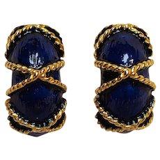 Mini Di N blue enamel clip earrings twisted rope decoration
