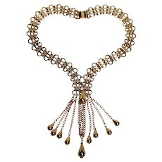Napier mesh chain necklace with dangling chain and metal bead drops