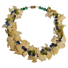 Chunky shell chip  and glass bead necklace barrel clasp