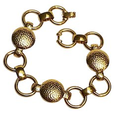 Monet bracelet hammered circles and O rings gold tone