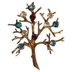 Sterling silver vermeil tree of life pin multi color rhinestones