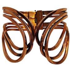 Renoir copper cuff bracelet Rhythm design Midcentury Modern