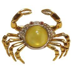 Pot metal crab pin yellow moonglow lucite belly rhinestone