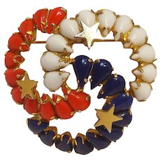 Hobe patriotic red white and blue pin pendant metal stars