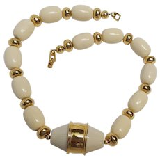 Napier chunky cream colored lucite and metal bead necklace