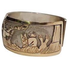 Navajo sterling silver gold filled story teller cuff bracelet BCT