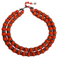 Vendome Modern neon red plastic and aluminum spacer bead necklace 2 strand