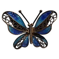 800 Silver filigree blue enamel butterfly pin