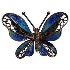 800 Silver filigree blue enamel butterfly pin