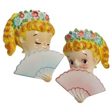 Lefton bashful girl with fan and flower wall pockets set