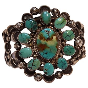 Native American sterling silver turquoise cuff bracelet AD