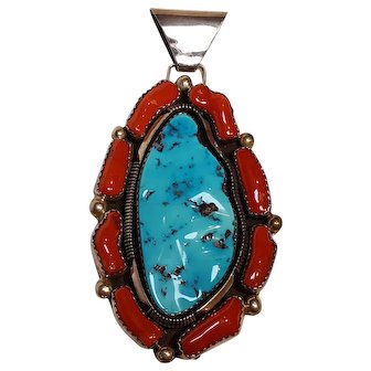 DW Navajo sterling silver coral turquoise pendant huge