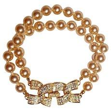 Kenneth Jay Lane KJL two strand simulated pearl bracelet rhinestone clasp